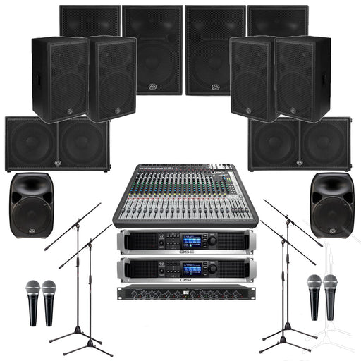 Auditorium Sound System with 8xWharfedale Delta 15 Wall Mount Loudspeakers, 2xSubwoofer, Crossover, Mixer, Mics, Monitors & Power Amp