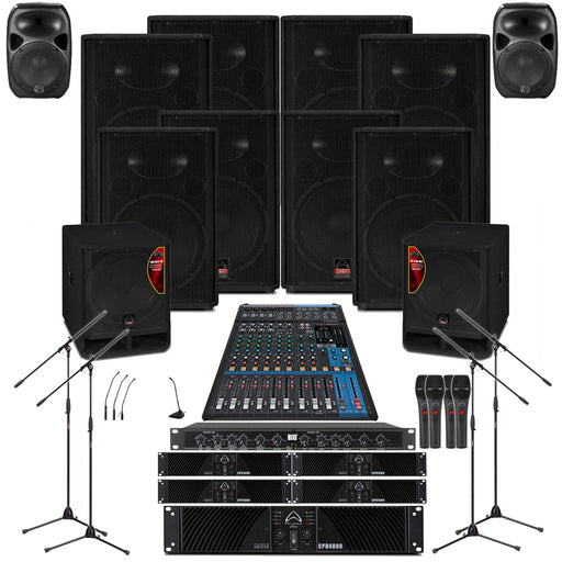 Temple Sound System 8xWharfedale EVP-X15 Wall Mount Loudspeakers, 2xSubwoofer ,5xAmplifier, Crossover, Monitor, Mics, Stands & Mixer