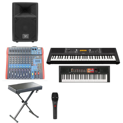 Keyboard Room for Music Schoools and Classes with 8xYamaha PSR F51 Keyboard, PA Loudspeaker, Stands, Amplifier & Mic