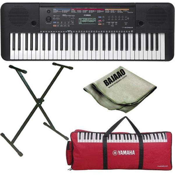 Yamaha PSR-E263 61-Key Portable Keyboard with Stand, Polishing Cloth and  Gig Bag