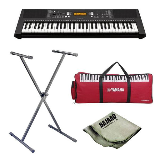 Yamaha PSR-E363 61-Key Touch Sensitive Portable Keyboard with Stand, Polishing Cloth and Gig Bag