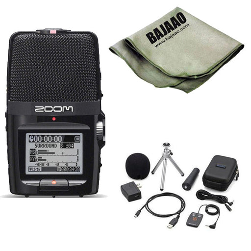 Zoom H2n Handy Portable Digital Audio Recorder With Zoom APH-2N Accessory Pack And Polishing Cloth