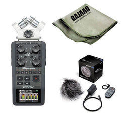 Zoom H6 Handheld Portable Audio Recorder w/ Interchangeable Microphone With Zoom APH-6 Accessory Pack And Polishing Cloth