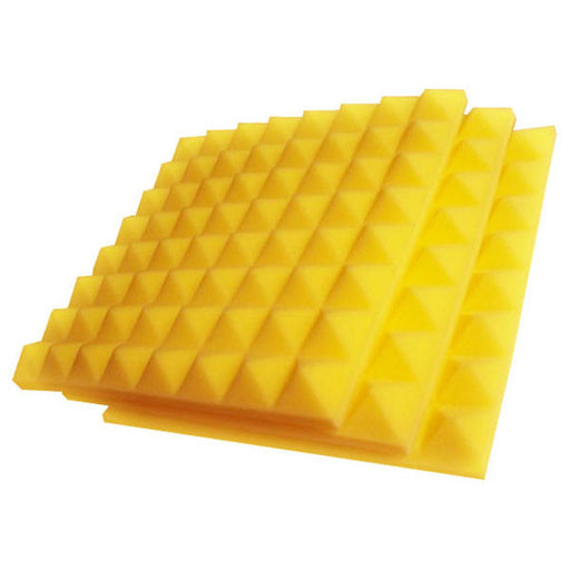 "Aurica Yellow Pyramid Shaped Acoustic Foam Panel 1' x 1' x 2"" Single"