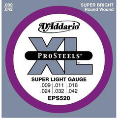 D'Addario EPS520 ProSteels Electric Guitar Strings, Super Light