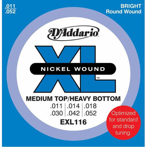 D'Addario EXL116 Electric Guitar Strings, Medium Top/Heavy Bottom