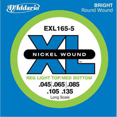 D'Addario EXL165-5 XL Bass Guitar Strings - Nickel, .045-.135