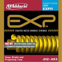 D'Addario EXP11 Coated 80/20 Bronze Light Acoustic Strings