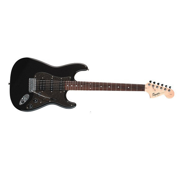 products fender squier affinity fat stratocaster  strings electric guitar right handed montego black metallic rosewood fretboard