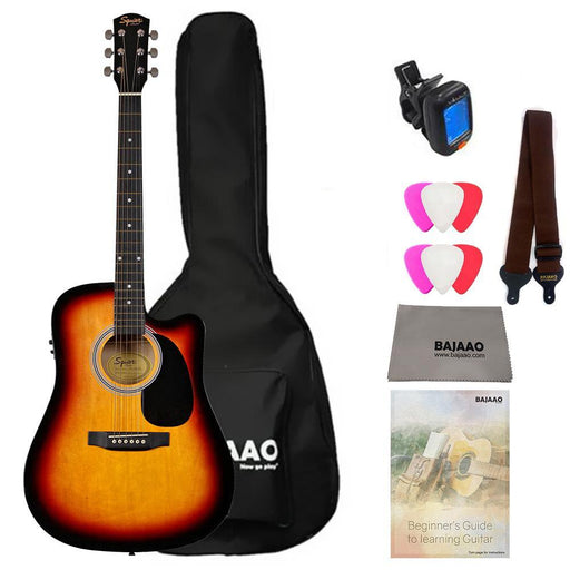 Fender SA105CE Electro - Acoustic Guitar Bundle with Gigbag, Picks, Strap and Polishing Cloth