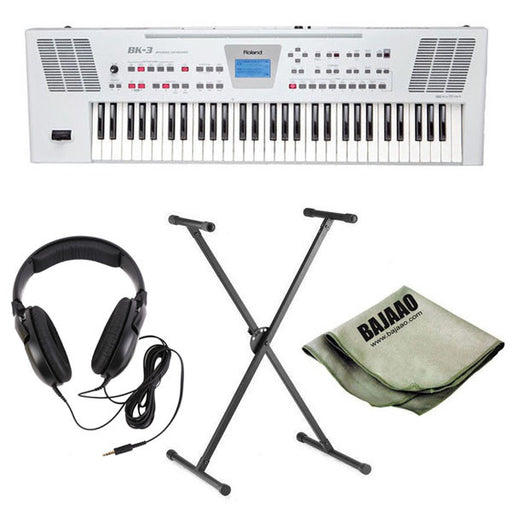 Roland BK-3 61-Key Backing Keyboard - White Deluxe Bundle