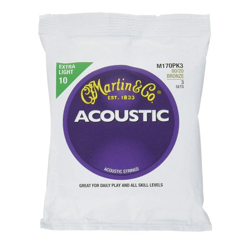 Martin M170 80/20 Acoustic Guitar Strings Extra Light