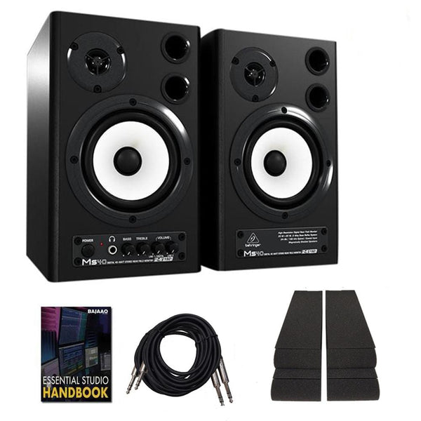 Behringer MS40 Digital Monitor Speakers System with Isolation Pads, Cables, and Ebook  - Pair