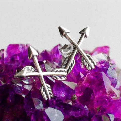 "Midsummer Star ""Crossed Arrow Stud Earrings"""