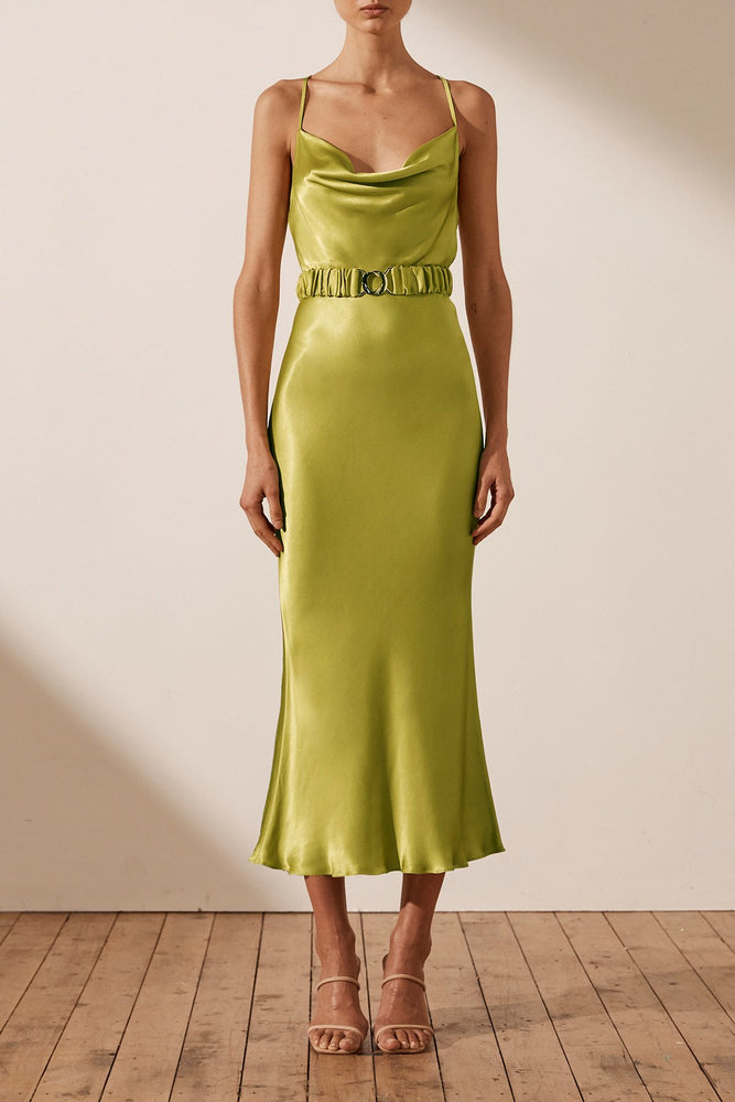 Shona Joy -  Gala Bias Cowl Midi Dress with Belt in Lime