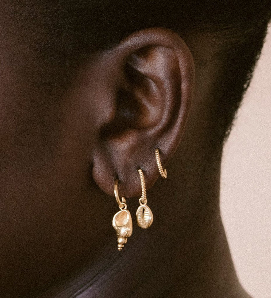 Kirstin Ash - Cowrie Shell Hoops in Gold