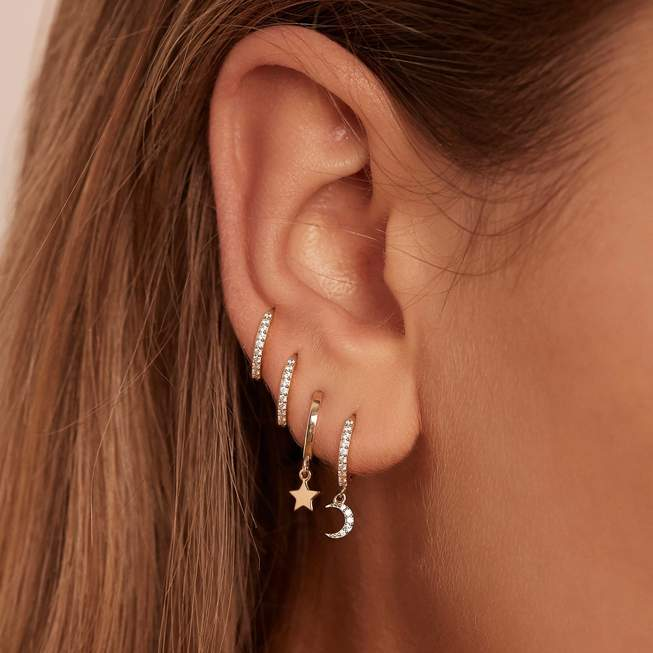 By Charlotte Wish Upon A Star Hoops - 14K Solid Gold