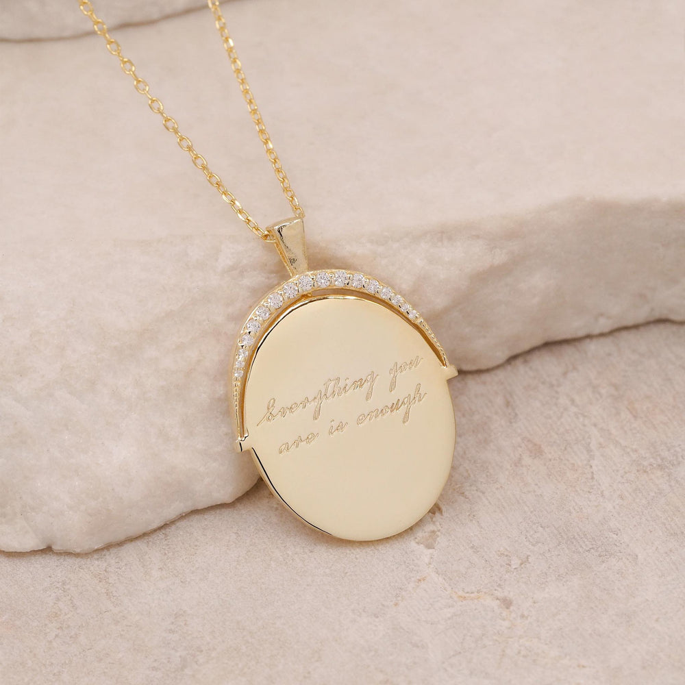 By Charlotte - Large Everything You Are Is Enough Necklace in Gold