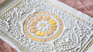 Holistic Ceramics - Antique Floral Tray in Gold