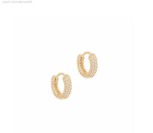 By Charlotte - Light Catcher Hoops in Gold
