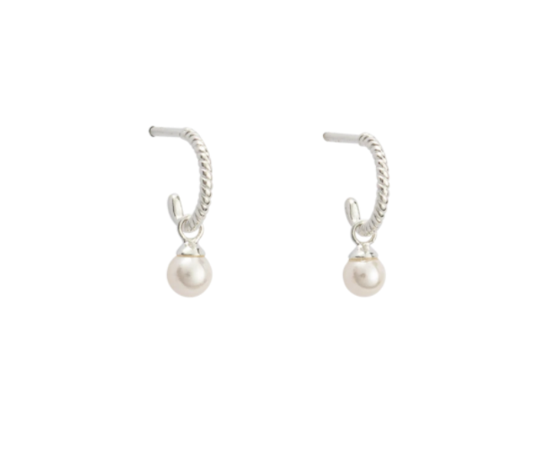 Load image into Gallery viewer, Kirstin Ash - Tiny Pearl Hoops in Sterling Silver