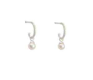 Kirstin Ash - Tiny Pearl Hoops in Sterling Silver