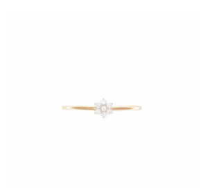 By Charlotte - 14k Gold Crystal Lotus Flower Ring