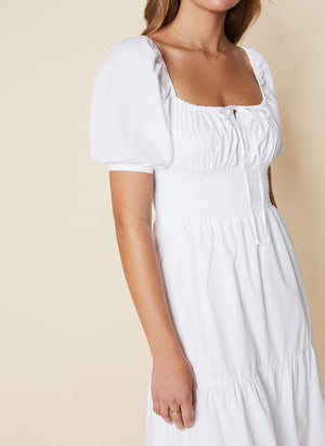 Load image into Gallery viewer, Faithfull The Label - Rene Midi Dress in Plain White