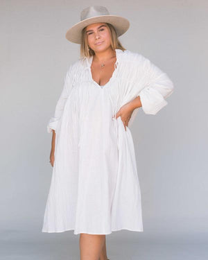 The Lullaby Club - Penny Smock Midi Dress in White