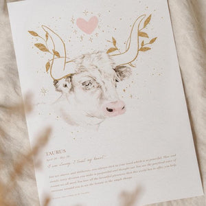 Load image into Gallery viewer, By Charlotte - Taurus Zodiac A4 Unframed Print