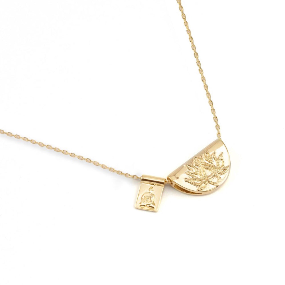 By Charlotte - Short Gold Lotus and Little Buddha Necklace