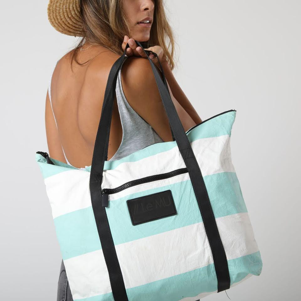 // Le MU - Zipper Tote // Pool 3 Stripe