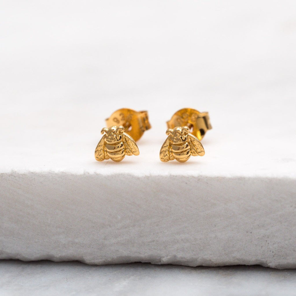 Midsummer Star - Tiny Bee Studs In Gold