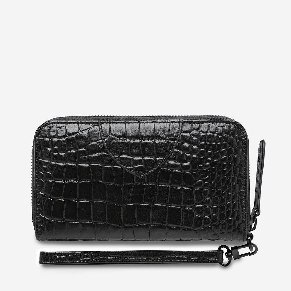 Status Anxiety - Moving On Wallet in Black Croc Emboss
