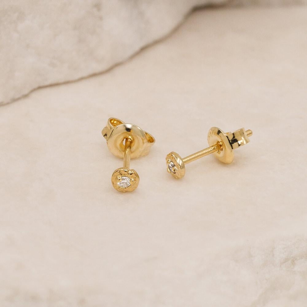 By Charlotte - Gold Guiding Light Stud Earrings