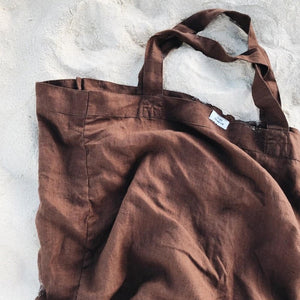 Load image into Gallery viewer, Dos Ombré - 100% LINEN MARKET TOTE | Cocoa