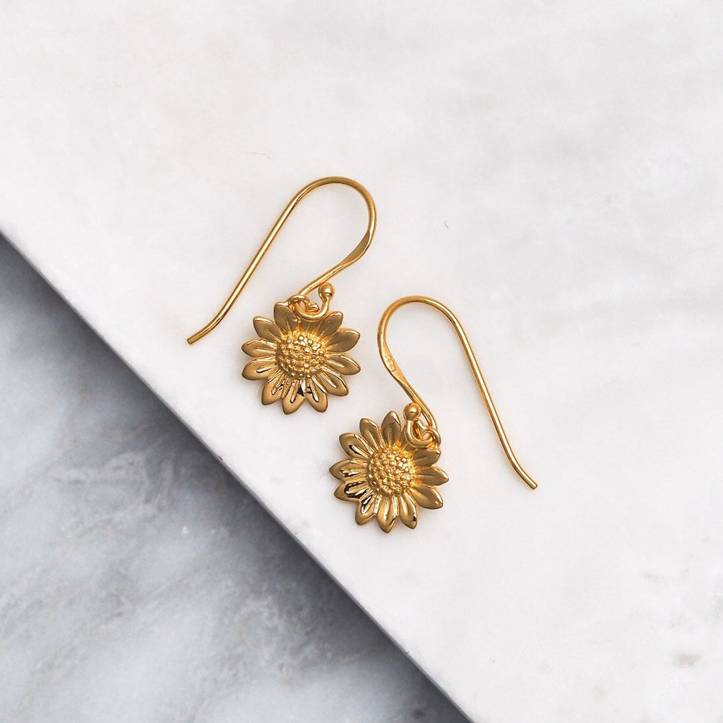 Midsummer Star - Blossoming Sunflower Earrings In Gold