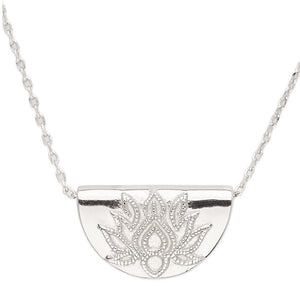 By Charlotte- Lotus Short Necklace in Silver