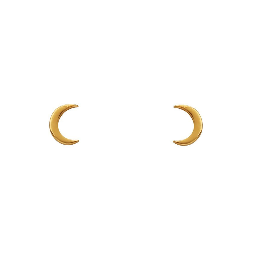 Midsummer Star - Dainty Moon Studs In Gold
