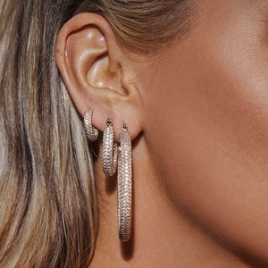 Luv Aj - PAVE BABY AMALFI HOOPS- GOLD