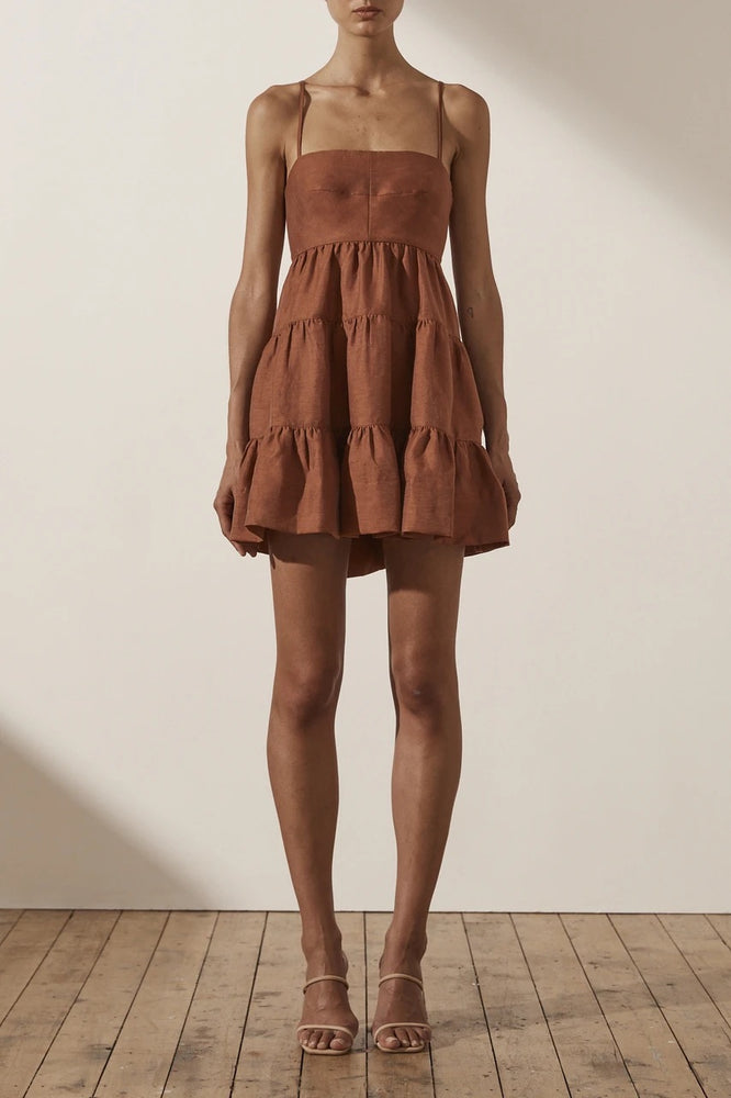 Load image into Gallery viewer, Shona Joy - Elsa Linen Tiered Mini Dress in Gingerbread
