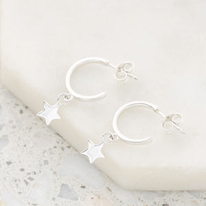 Load image into Gallery viewer, Midsummer Star - Silver Star Hoops