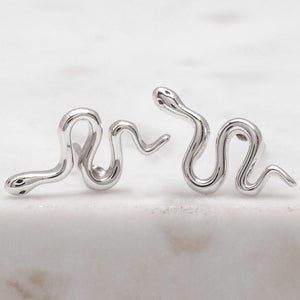 Midsummer Star - Green Tree Snake Studs In Silver