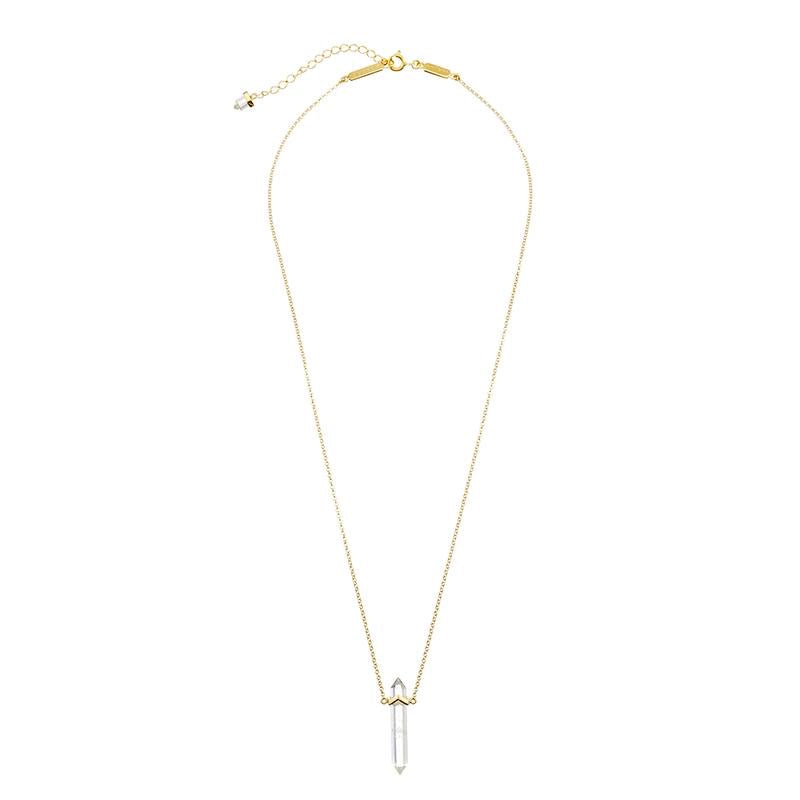 Krystle Knight - Zion Quartz Necklace | Clear Quartz Crystal in Gold