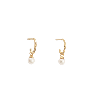 Kirstin Ash - Tiny Pearl Hoops in 18K Gold Vermeil
