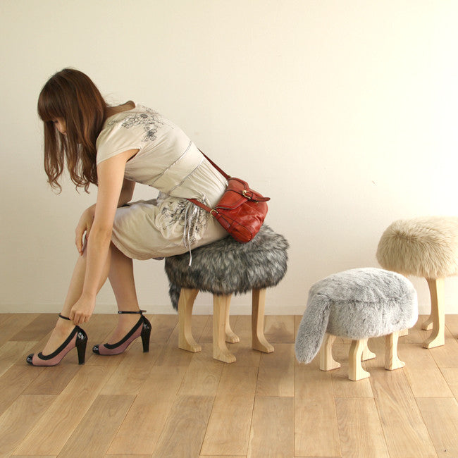 Animal Stool_Wolf Gray L