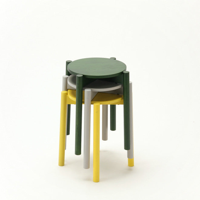 Karimoku New Standard - CASTOR STOOL PLUS green