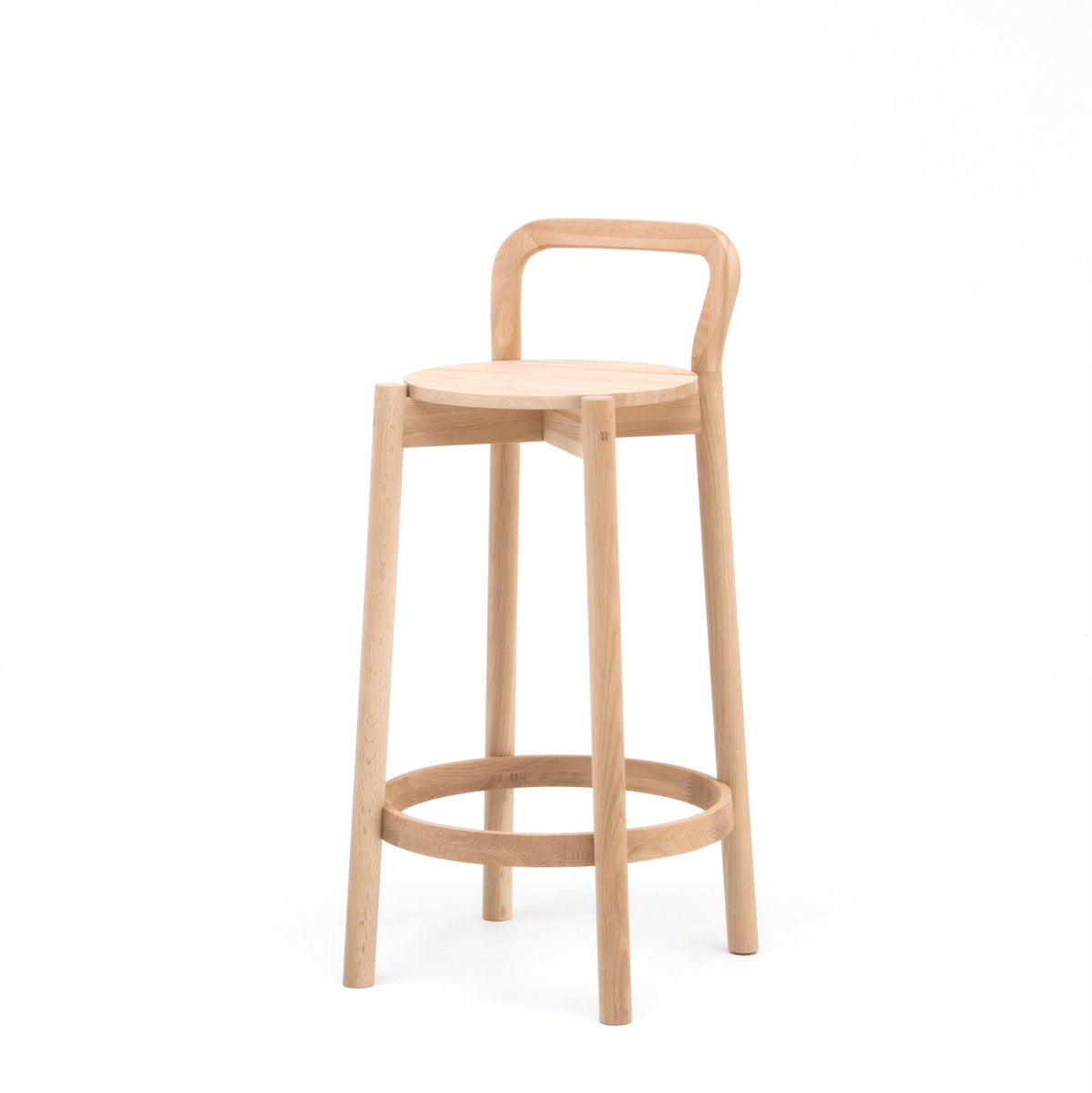 Karimoku New Standard - CASTOR BACKREST BAR STOOL LOW oak - Stool