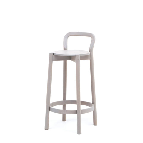 Karimoku New Standard - CASTOR BACKREST BAR STOOL LOW grey - Stool