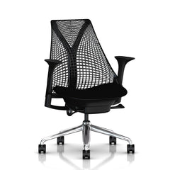 Sayl Chair Polished Aluminum Base with Black Y-Tower